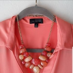 Chunky Peach & Gold Statement Neclace
